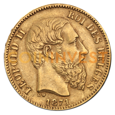 20 Franc Leopold II Belgium Gold Coin (1876-1882)