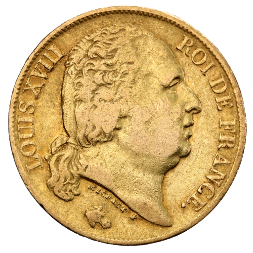 20 Franc Louis XVIII Gold Coin (1814-1824)