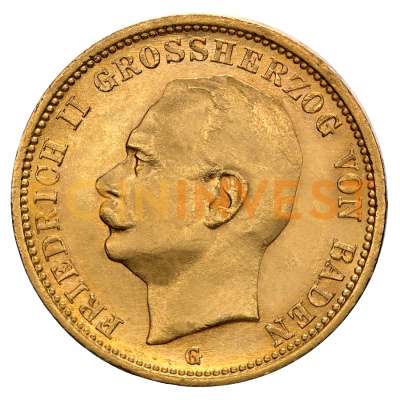 20 Mark | Grand Duke Friedrich II Baden | Gold | 1907-1918