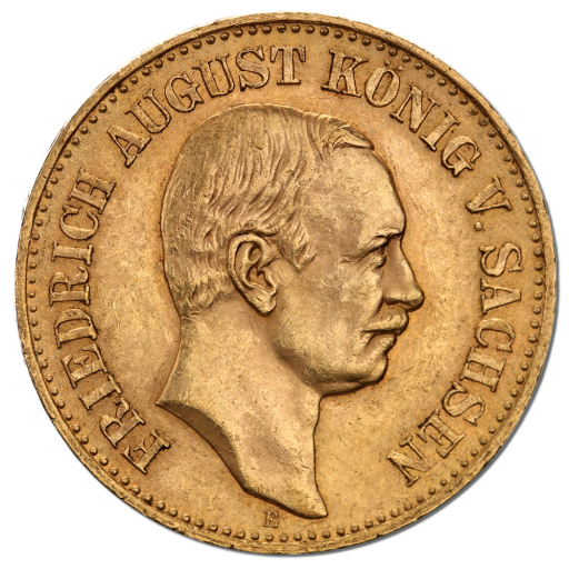 20 Mark | King Friedrich August III Saxony | Gold | 1904-1918