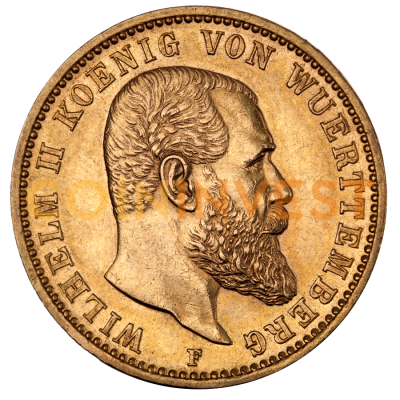 20 Mark | King Wilhelm II Wurttemberg | Gold | 1891-1918