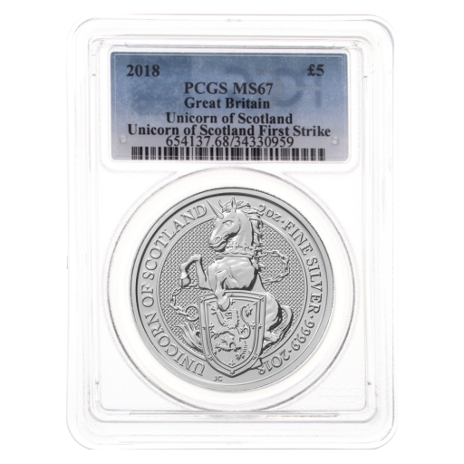 2018 2 oz Queen's Beasts Licorne | Argent | MS-67 PCGS
