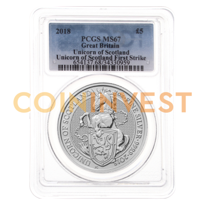 2018 Great Britain 2 oz Silver Queen's Beasts Unicorn MS-67 PCGS