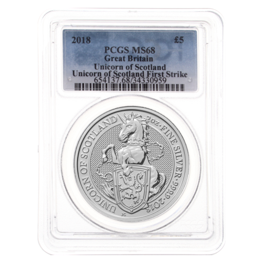 2018 2 oz Queen's Beasts Unicornio | Plata | MS-68 PCGS