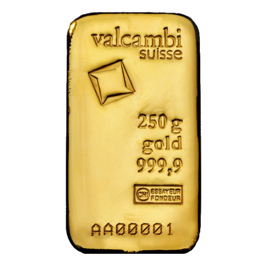 250g Gold Bar | Valcambi | Casted