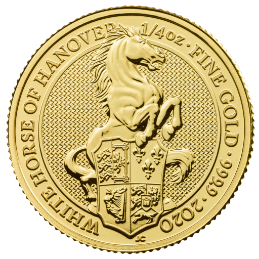 1/4 oz Queen's Beasts White Horse of Hanover Goldmünze (2020)