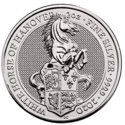 2 oz Queen's Beasts White Horse of Hanover Silver Coin (2020)