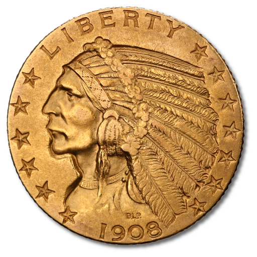 5 Dollar Half Eagle Quot Indian Head Quot Gold 1908 1929
