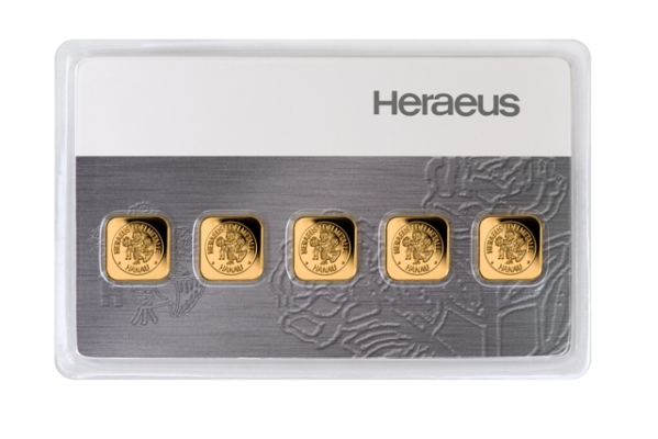 5 x 1g Gold Bar | Multicard | Heraeus