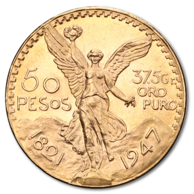 50 Gold Mexican Pesos (1821-1947)
