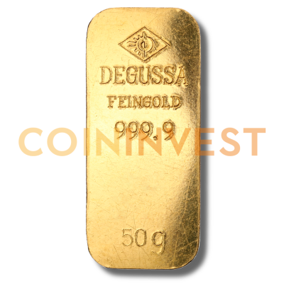 50g Gold Bar Degussa