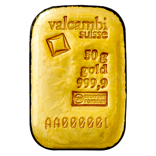 50g Gold Bar | Valcambi | Casted