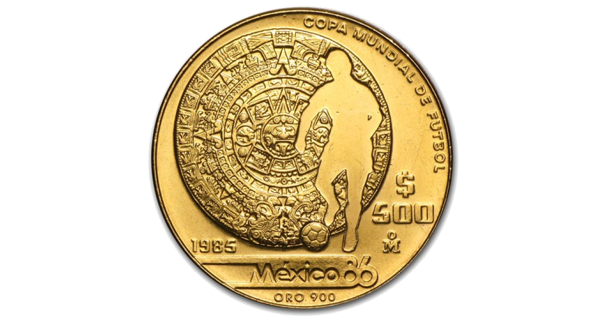 Coin Football World Cup 86 Gold Mexican Peso