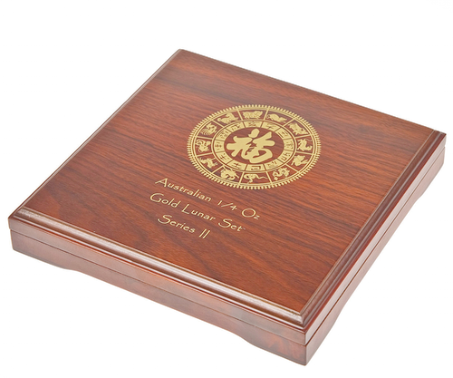 12 x 1/4 oz Lunar II Gold Wooden Box EMPTY