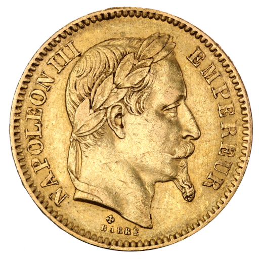 20 French Francs Napoléon III Bonaparte w. coronary | Gold | 1861-1870