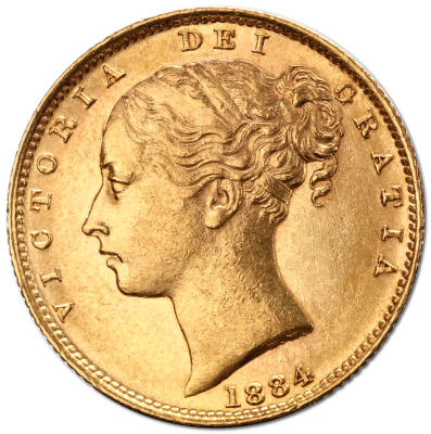 Queen Victoria Young Head Shield back Gold Coin (1871-1887)